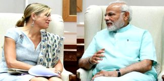 The Prime Minister, Shri Narendra Modi meeting the Queen Maxima of the Netherlands, in New Delhi on May 28, 2018.